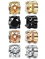 LOYALLOOK 4 Pairs Unisex Round CZ Inlaid Magnetic Earrings Non-Piercing Clip On Stud Earrings 4 Mixed Colors