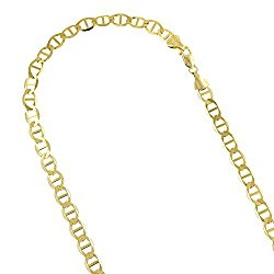 Luxurman 10K Yellow Gold Solid Flat Mariner Chain 5.5mm Wide Necklace or Bracelet with Lobster Claw Clasp