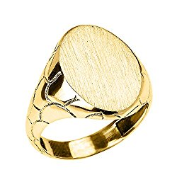 Men's High Polish 10k Yellow Gold Engravable Oval Top Nugget Band Signet Ring
