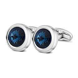 Merit Ocean Mens Elegant Style Cuff Link Super Shiny Swarovski Navy Blue Crystal Circular Cufflinks