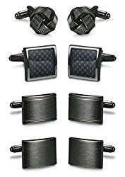 ORAZIO 2-4 Pairs Mens Classic Cufflinks Unique Gun Black Cufflinks for Men Business or Wedding Shirts