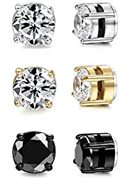 ORAZIO 3 Pairs Stainless Steel Magnetic Stud Earrings for Womens Mens Non Piercing Cubic Zirconia 4-8mm