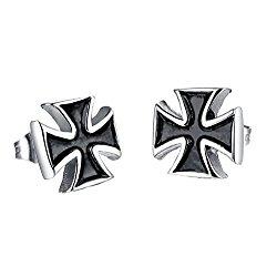 PAURO Jewelry Men's Stainless Steel Vintage Cross Stud Earrings, Silver and Black