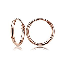 Rose Gold Flashed Sterling Silver Tiny Small Endless 10mm Round Unisex Hoop Earrings