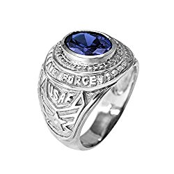 September CZ Birthstone US Air Force Men's Ring in Solid 925 Sterling Silver