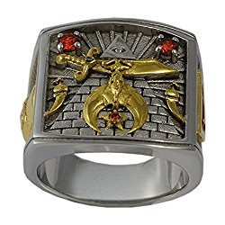 Shriner Masonic Freemason Templar Man Ring 925 Sterling Silver 18K Gold Plated Freemasonry Size KTR014