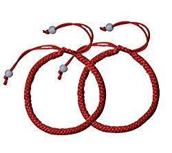Skyflying 2PCS Cotton Red Line Lucky Love Chain Kabbalah Adjustable Bracelet Ankle ChainProtection Faith Unisex
