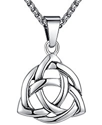 Stainless Steel Celtic Knot Irish Triquetra Lucky Love Pendant (Large) Necklace, 24″ Chain, aap126