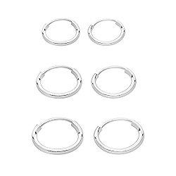 Sterling Silver Hoop Earrings Pair of 3 Set 12mm 13mm 14mm for Women & Men's Cartilage,Ears Piercing