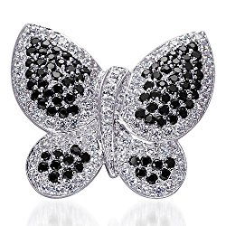 Sterling Silver Rhodium Nickel Finish Vintage Butterfly Brooch with White and Black CZ