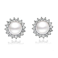 """""""Sunshine"""" 8-9mm Natural Freshwater Pearl with AAA Swarovski Zirconia 925 Sterling Silver Stud Earrings"""