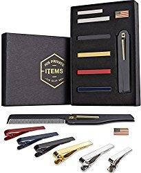 Tie Bar Clip Set for Men -[6 Pc]- Pinch / Hold Skinny & Regular Ties – Gift Box