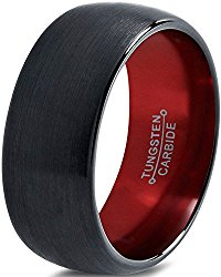 Tungsten Wedding Band Ring 10mm for Men Women Red Black Domed Brushed Polished