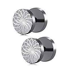 U2U Jewelry Pair Of Stainless Steel Lotus Pattern Cut Fake Plug Stud Earrings For Men