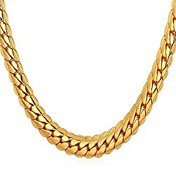"""U7 18K Gold Plated Necklace With """"18K"""" Stamp Men Jewelry 4 Colors 6 MM – 9MM Wide Snake Chain Necklace ,18″-32″"""