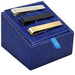 UHIBROS Mens Tie Clip Tie Bar Set for Regular Ties 2.1 inch Silver, Black, Gold Tone Luxury Gift Box