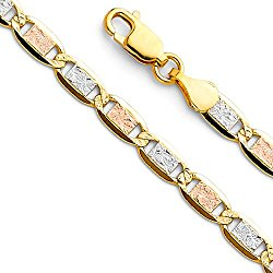 Wellingsale 14k Tri 3 Color Gold SOLID 4mm Polished Valentino Chain Necklace