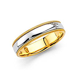 Wellingsale 14k Two 2 Tone White and Yellow Gold Polished 5MM Domed Center Milgrain Comfort Fit Wedding Band Ring