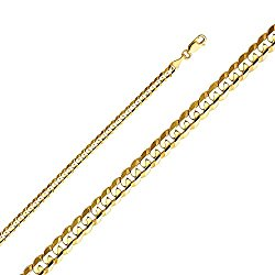 Wellingsale 14k Yellow Gold SOLID 4mm Polished Cuban Concaved Curb Chain Necklace