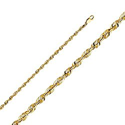 Wellingsale 14k Yellow Gold SOLID 4mm Polished Diamond Cut SOLID Rope Chain Necklace with Lobster Claw Clasp