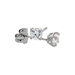 14k White Gold Cubic Zirconia Earrings Studs 3 mm Brilliant Cut Basket Setting 1/5 carat/pr