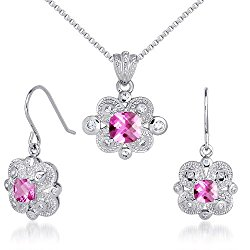 Antique Styling 4.50 carats Cushion Checkerboard Cut Created Pink Sapphire Pendant Earrings Set in Sterling Silver Rhodium Nickel Finish
