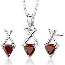 Garnet Pendant Earrings Necklace Sterling Silver Rhodium Nickel Finish Trillion Cut 2.00 Carats