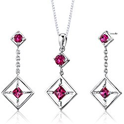 Sterling Silver Rhodium Nickel Finish Multishape Created Ruby Pendant Earrings and 18 inch Necklace Set
