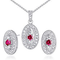 Vibrant 0.75 carat Round Shape Created Ruby Pendant Earrings Set in Sterling Silver Rhodium Nickel Finish