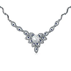 Bling Jewelry Rhodium Plated Simulated Sapphire Flower Bridal Drop Necklace 16 Inches