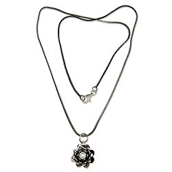 NOVICA Cultured Freshwater Pearl .925 Sterling Silver Pendant Necklace, 17″ 'Sacred White Lotus'