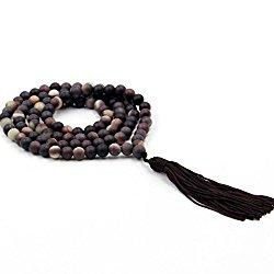 6mm Zipao Stone Beads Tibetan Buddhist Prayer Meditation 108 Japa Mala Necklace