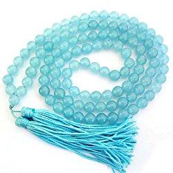 8mm 108 Blue Stone Beads Tibetan Buddhist Prayer Meditation Mala Necklace