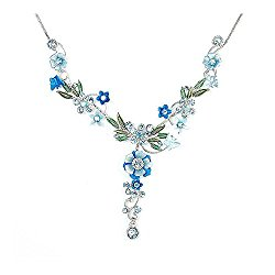 Glamorousky Blue Flower and Tiny Butterfly Necklace with Blue Austrian Element Crystals (975)