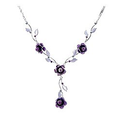 Glamorousky Elegant Rose Necklace with Purple Austrian Element Crystals (1024)