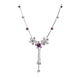 Glamorousky Silver Flower Necklace with Purple Austrian Element Crystals (1008)