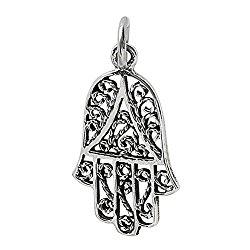 Sterling Silver Filigree Hamsa – Hand of Fatima Charm Pendant