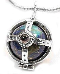 Sterling Silver Multi-Stone Caged Earth Globe Pendant