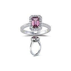 1/4 (0.21-0.27) Ct Diamond & 1 Ct AAA Pink Tourmaline Ring in 18K White Gold