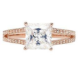 2.52ct Brilliant Princess Cut Solitaire Statement Ring 14k Rose Gold, Clara Pucci