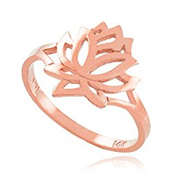 Dainty 10k Rose Gold High Polish Open Lotus Flower Ring