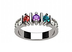 NANA Straight Bar w/Side Mothers Ring 1-6 Simulated Birthstones Silver or 10k White, Yellow or Rose Gold