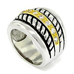 Stackable-Look, Designer-Inspired Wide Band w/White CZs