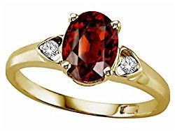 Tommaso Design Genuine Garnet Ring 14kt Gold