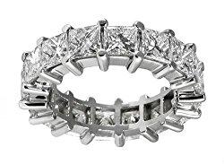5.00 ct TW Lady's PrincessCut Diamond Eternity Wedding Band Ring in Platinum