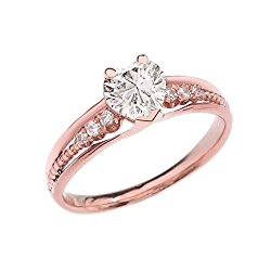 Dazzling 14k Rose Gold Diamond And April Birthstone CZ Heart Beaded Promise Ring
