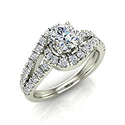 Ocean Wave Intertwined Diamond Engagement Ring 14K Gold 1.25 ct 5.60 mm Center-Glitz Design Collection (I,I1)