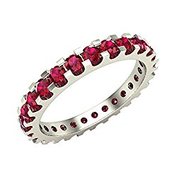 Ruby 2.25 mm Stackable Eternity Band 14K Gold