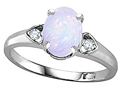 Star K Oval 8×6 Genuine Opal Love Promise Ring 10kt Gold