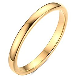 Womens 2mm Tungsten Carbide Ring Black Gold Silver Simple Style Cute Thin Wedding Engagement Promise Band